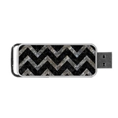 Chevron9 Black Marble & Gray Stone Portable Usb Flash (two Sides)