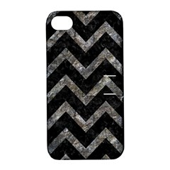 Chevron9 Black Marble & Gray Stone Apple Iphone 4/4s Hardshell Case With Stand
