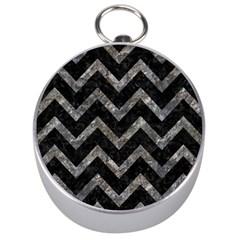 Chevron9 Black Marble & Gray Stone Silver Compasses