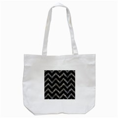 Chevron9 Black Marble & Gray Stone Tote Bag (white)