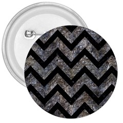 Chevron9 Black Marble & Gray Stone (r) 3  Buttons