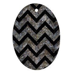 Chevron9 Black Marble & Gray Stone (r) Ornament (oval)