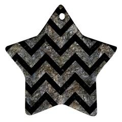 Chevron9 Black Marble & Gray Stone (r) Ornament (star)