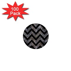 Chevron9 Black Marble & Gray Stone (r) 1  Mini Buttons (100 Pack)
