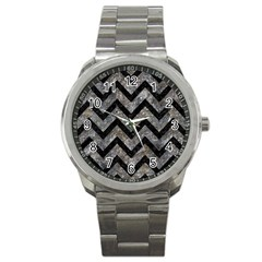 Chevron9 Black Marble & Gray Stone (r) Sport Metal Watch