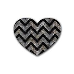 Chevron9 Black Marble & Gray Stone (r) Rubber Coaster (heart)