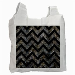 Chevron9 Black Marble & Gray Stone (r) Recycle Bag (two Side)