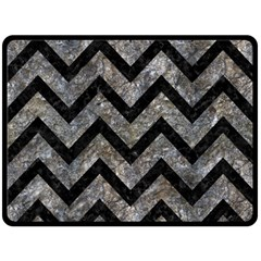 Chevron9 Black Marble & Gray Stone (r) Fleece Blanket (large)
