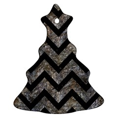 Chevron9 Black Marble & Gray Stone (r) Ornament (christmas Tree)
