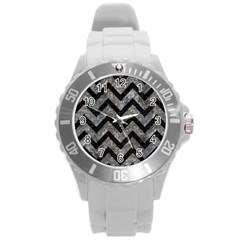 Chevron9 Black Marble & Gray Stone (r) Round Plastic Sport Watch (l)