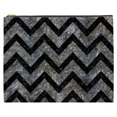 Chevron9 Black Marble & Gray Stone (r) Cosmetic Bag (xxxl)