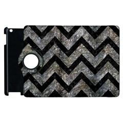 Chevron9 Black Marble & Gray Stone (r) Apple Ipad 2 Flip 360 Case