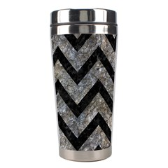 Chevron9 Black Marble & Gray Stone (r) Stainless Steel Travel Tumblers