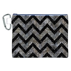 Chevron9 Black Marble & Gray Stone (r) Canvas Cosmetic Bag (xxl)