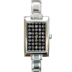 Circles1 Black Marble & Gray Stone Rectangle Italian Charm Watch