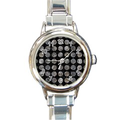 Circles1 Black Marble & Gray Stone Round Italian Charm Watch