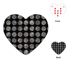 Circles1 Black Marble & Gray Stone Playing Cards (heart)