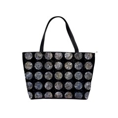 Circles1 Black Marble & Gray Stone Shoulder Handbags