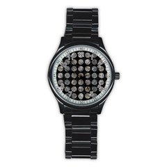 Circles1 Black Marble & Gray Stone Stainless Steel Round Watch