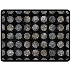 Circles1 Black Marble & Gray Stone Double Sided Fleece Blanket (large)