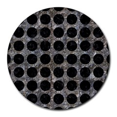 Circles1 Black Marble & Gray Stone (r) Round Mousepads