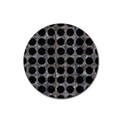 Circles1 Black Marble & Gray Stone (r) Rubber Round Coaster (4 Pack)