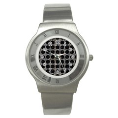 Circles1 Black Marble & Gray Stone (r) Stainless Steel Watch