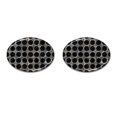 Circles1 Black Marble & Gray Stone (r) Cufflinks (oval)