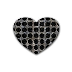 Circles1 Black Marble & Gray Stone (r) Rubber Coaster (heart)