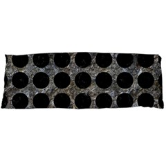 Circles1 Black Marble & Gray Stone (r) Body Pillow Case (dakimakura)