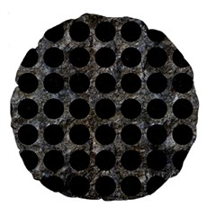 Circles1 Black Marble & Gray Stone (r) Large 18  Premium Round Cushions