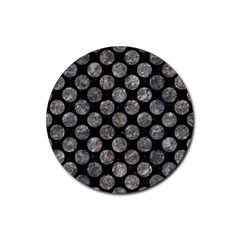 Circles2 Black Marble & Gray Stone Rubber Coaster (round)