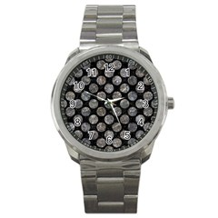 Circles2 Black Marble & Gray Stone Sport Metal Watch