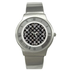 Circles2 Black Marble & Gray Stone Stainless Steel Watch