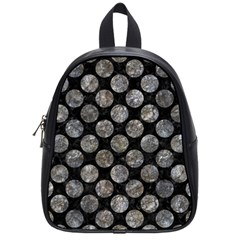 Circles2 Black Marble & Gray Stone School Bag (small)