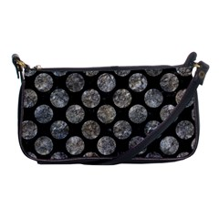 Circles2 Black Marble & Gray Stone Shoulder Clutch Bags