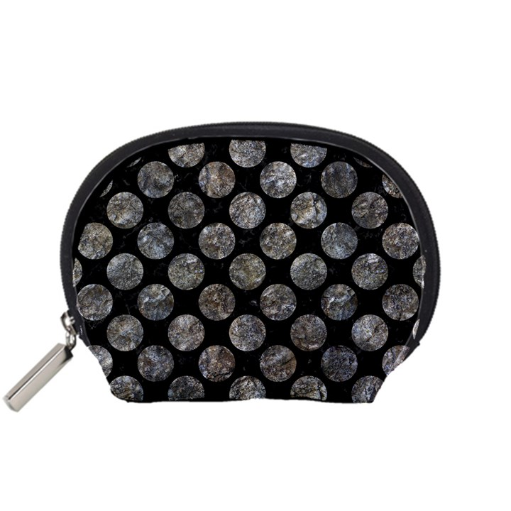 CIRCLES2 BLACK MARBLE & GRAY STONE Accessory Pouches (Small)