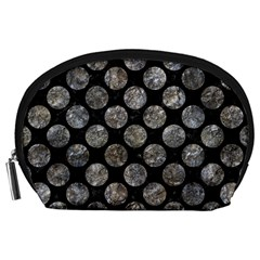 Circles2 Black Marble & Gray Stone Accessory Pouches (large)