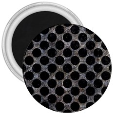 Circles2 Black Marble & Gray Stone (r) 3  Magnets