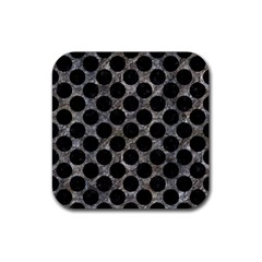 Circles2 Black Marble & Gray Stone (r) Rubber Square Coaster (4 Pack)