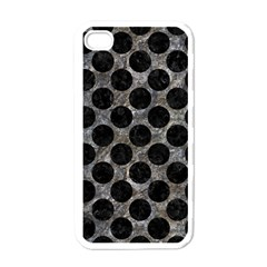 Circles2 Black Marble & Gray Stone (r) Apple Iphone 4 Case (white)