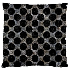 Circles2 Black Marble & Gray Stone (r) Large Cushion Case (one Side)