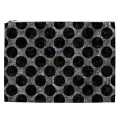 Circles2 Black Marble & Gray Stone (r) Cosmetic Bag (xxl)