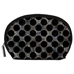 Circles2 Black Marble & Gray Stone (r) Accessory Pouches (large)