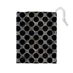 Circles2 Black Marble & Gray Stone (r) Drawstring Pouches (large)