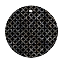 Circles3 Black Marble & Gray Stone Round Ornament (two Sides)