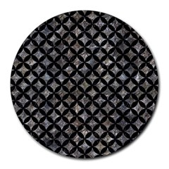Circles3 Black Marble & Gray Stone (r) Round Mousepads