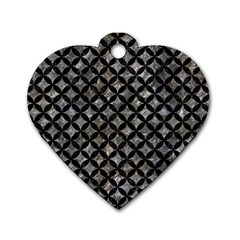 Circles3 Black Marble & Gray Stone (r) Dog Tag Heart (one Side)