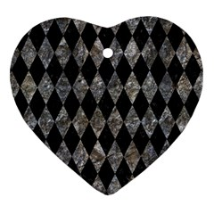 Diamond1 Black Marble & Gray Stone Heart Ornament (two Sides)