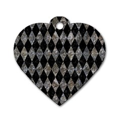 Diamond1 Black Marble & Gray Stone Dog Tag Heart (one Side)
